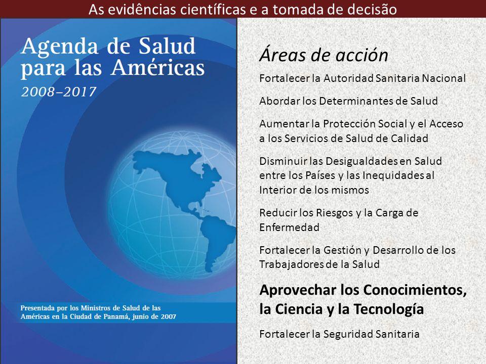 Áreas de acción Fortalecer la Autoridad Sanitaria Nacional Abordar los Determinantes de Salud Aumentar la Protección Social y el Acceso a los Servicio