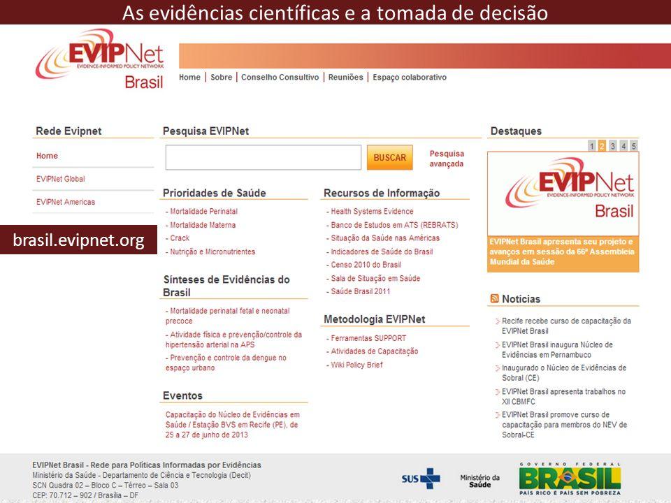 brasil.evipnet.org As evidências científicas e a tomada de decisão