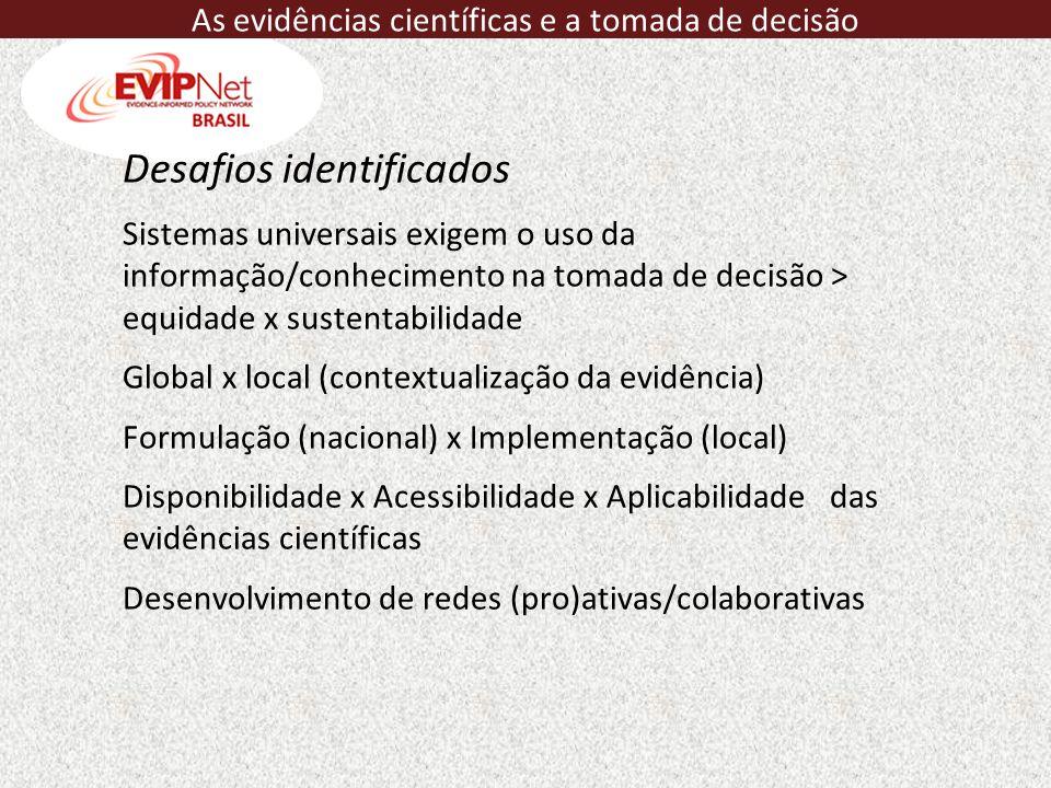 Desafios identificados Sistemas universais exigem o uso da informação/conhecimento na tomada de decisão > equidade x sustentabilidade Global x local (