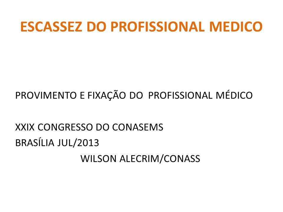 ESCASSEZ DO PROFISSIONAL MEDICO PROVIMENTO E FIXAÇÃO DO PROFISSIONAL MÉDICO XXIX CONGRESSO DO CONASEMS BRASÍLIA JUL/2013 WILSON ALECRIM/CONASS