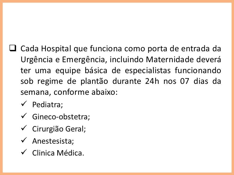 Cada Hospital que funciona como porta de entrada da Urgência e Emergência, incluindo Maternidade deverá ter uma equipe básica de especialistas funcion