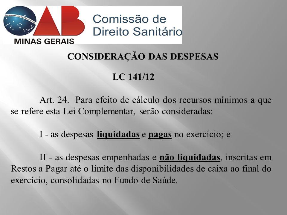 CONSIDERAÇÃO DAS DESPESAS LC 141/12 Art. 24. Para efeito de cálculo dos recursos mínimos a que se refere esta Lei Complementar, serão consideradas: I