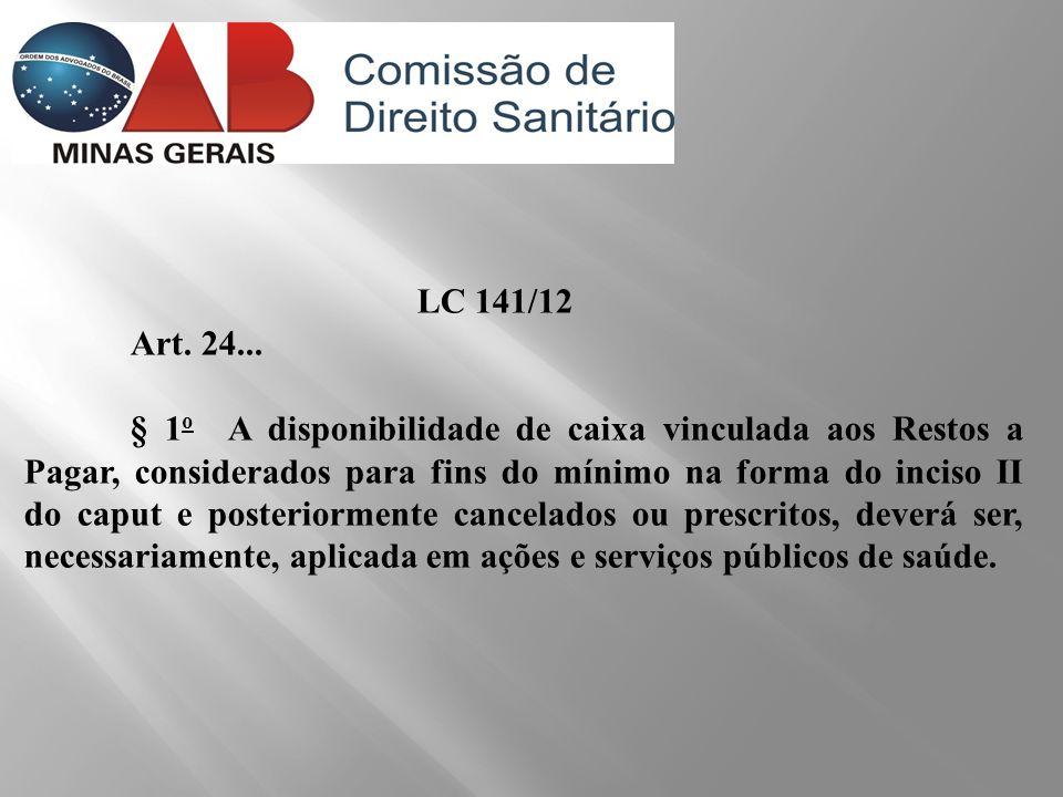 LC 141/12 Art. 24... § 1 o A disponibilidade de caixa vinculada aos Restos a Pagar, considerados para fins do mínimo na forma do inciso II do caput e