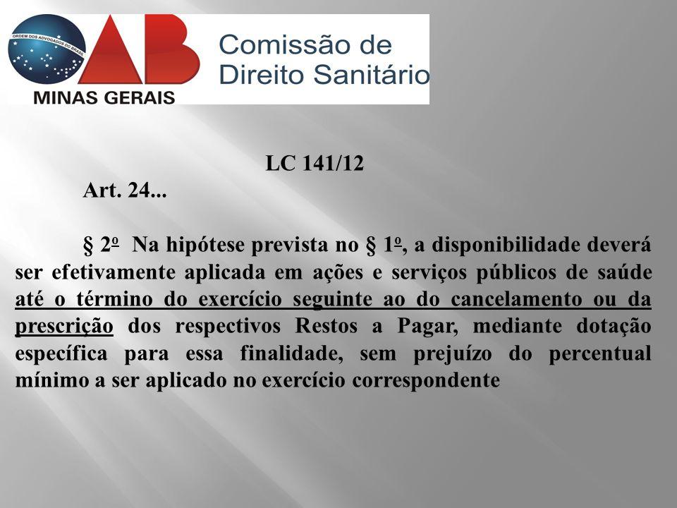 LC 141/12 Art. 24... § 2 o Na hipótese prevista no § 1 o, a disponibilidade deverá ser efetivamente aplicada em ações e serviços públicos de saúde até