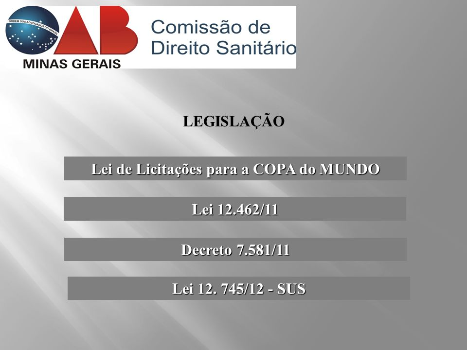 Lei de Licitações para a COPA do MUNDO LEGISLAÇÃO Lei 12.462/11 Decreto 7.581/11 Lei 12. 745/12 - SUS