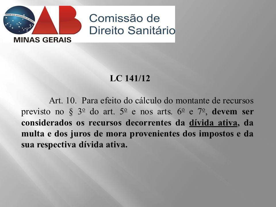 LC 141/12 Art. 10. Para efeito do cálculo do montante de recursos previsto no § 3 o do art. 5 o e nos arts. 6 o e 7 o, devem ser considerados os recur