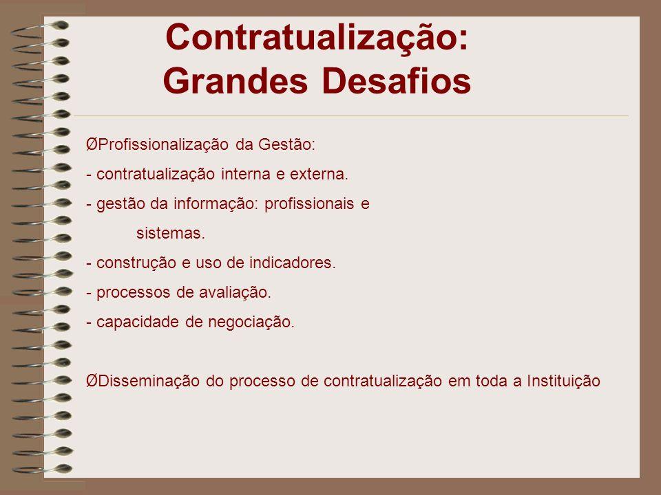 Ø Profissionalização da Gestão: - contratualização interna e externa. - gestão da informação: profissionais e sistemas. - construção e uso de indicado