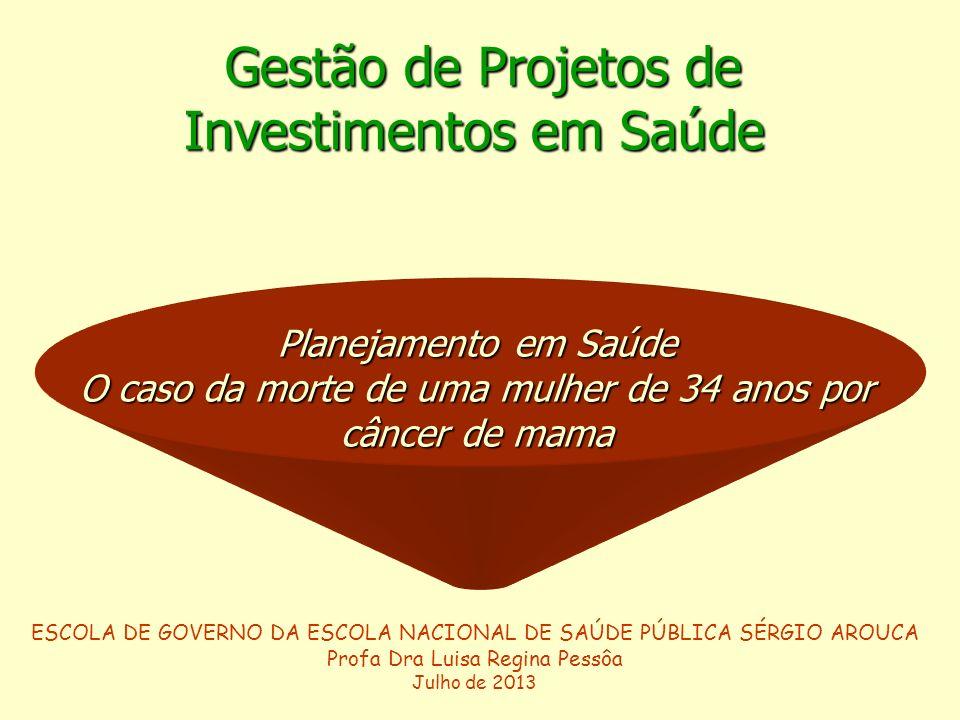 POLÍTICAS Y GESTIÓN EN SALUD Gestão de Projetos de Gestão de Projetos de Investimentos em Saúde ESCOLA DE GOVERNO DA ESCOLA NACIONAL DE SAÚDE PÚBLICA SÉRGIO AROUCA Profa Dra Luisa Regina Pessôa Julho de 2013 Planejamento em Saúde O caso da morte de uma mulher de 34 anos por câncer de mama
