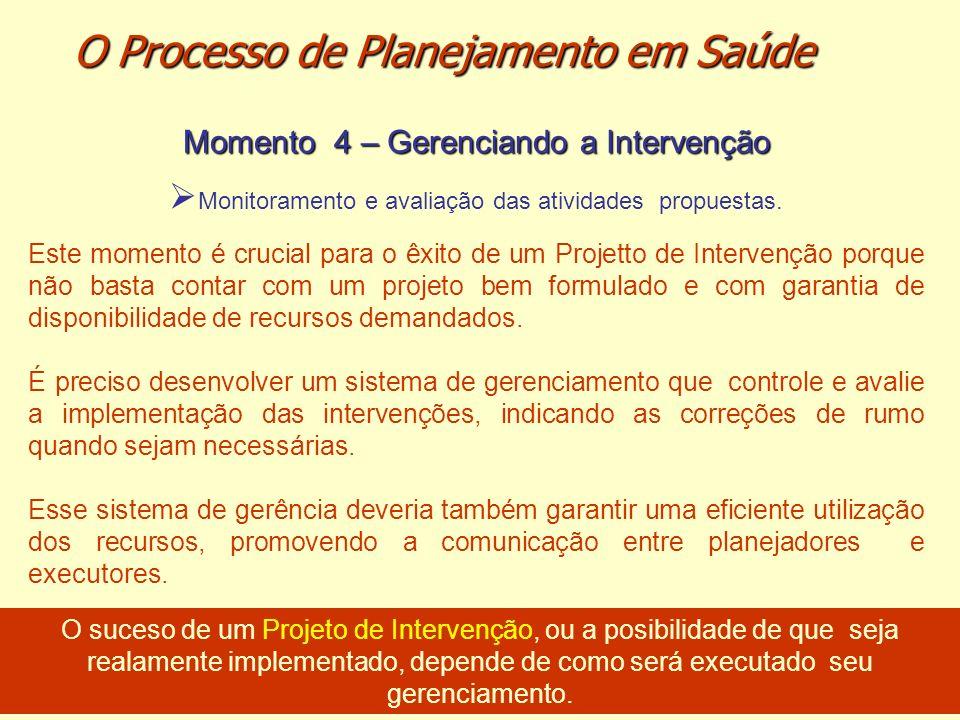 Momento 4 – Gerenciando a Intervenção Monitoramento e avaliação das atividades propuestas. Este momento é crucial para o êxito de um Projetto de Inter