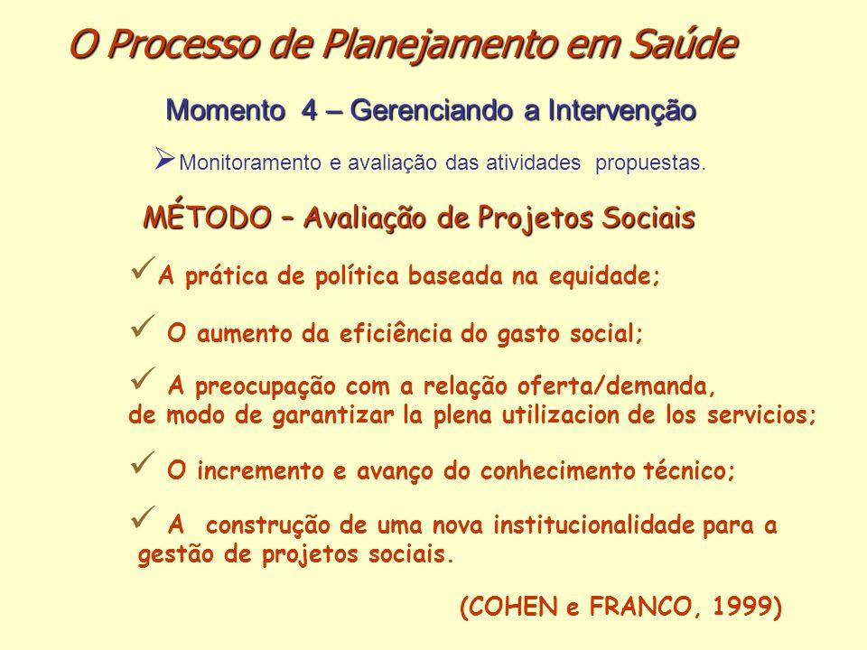 MÉTODO – Avaliação de Projetos Sociais A prática de política baseada na equidade; O aumento da eficiência do gasto social; A preocupação com a relação