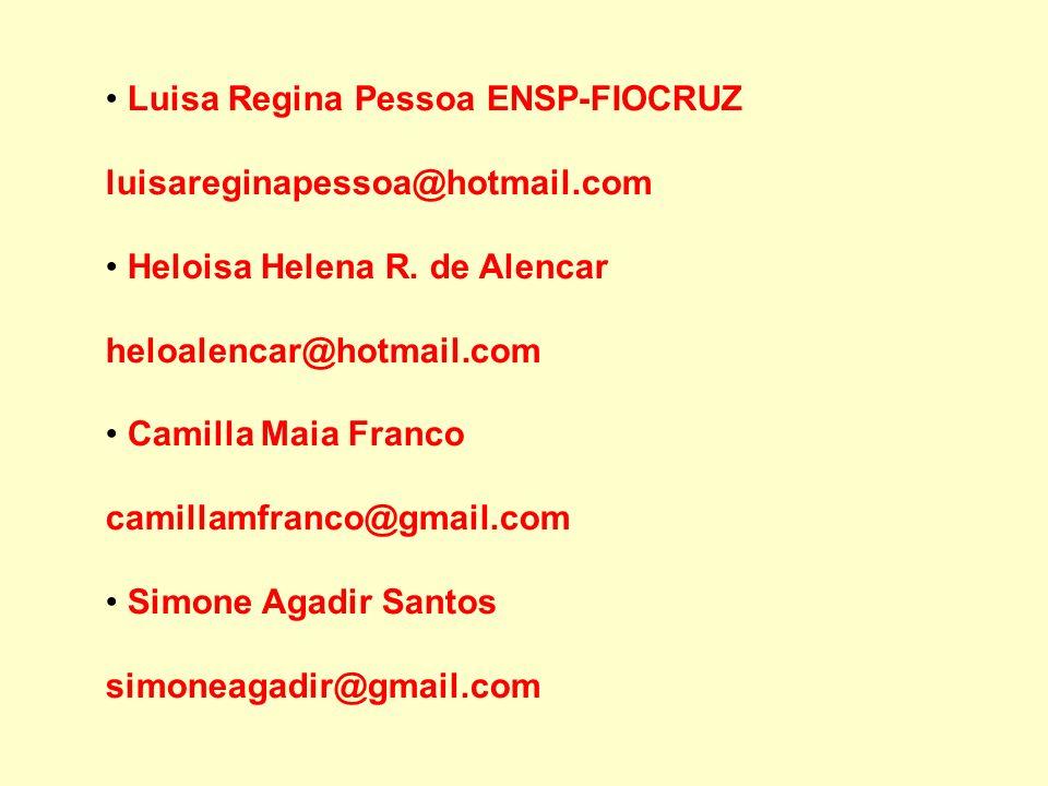 Luisa Regina Pessoa ENSP-FIOCRUZ luisareginapessoa@hotmail.com Heloisa Helena R. de Alencar heloalencar@hotmail.com Camilla Maia Franco camillamfranco