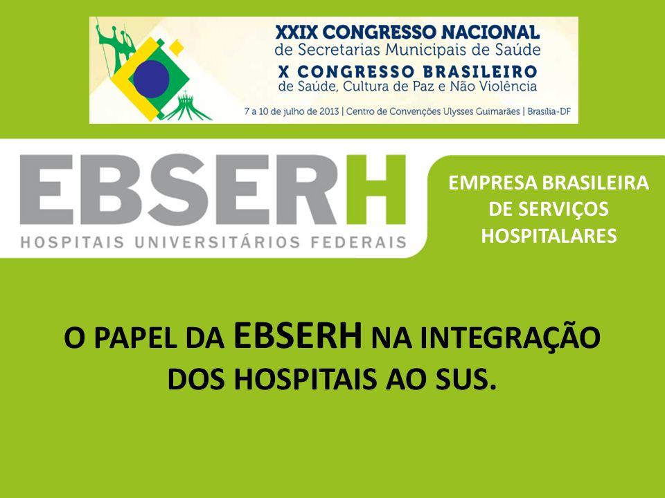 EMPRESA BRASILEIRA DE SERVIÇOS HOSPITALARES O PAPEL DA EBSERH NA INTEGRAÇÃO DOS HOSPITAIS AO SUS.