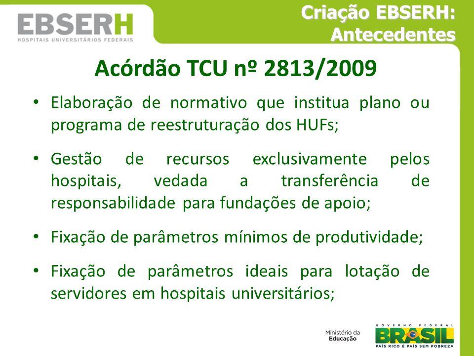 Acórdão TCU nº 2813/2009 Elaboração de normativo que institua plano ou programa de reestruturação dos HUFs; Gestão de recursos exclusivamente pelos ho