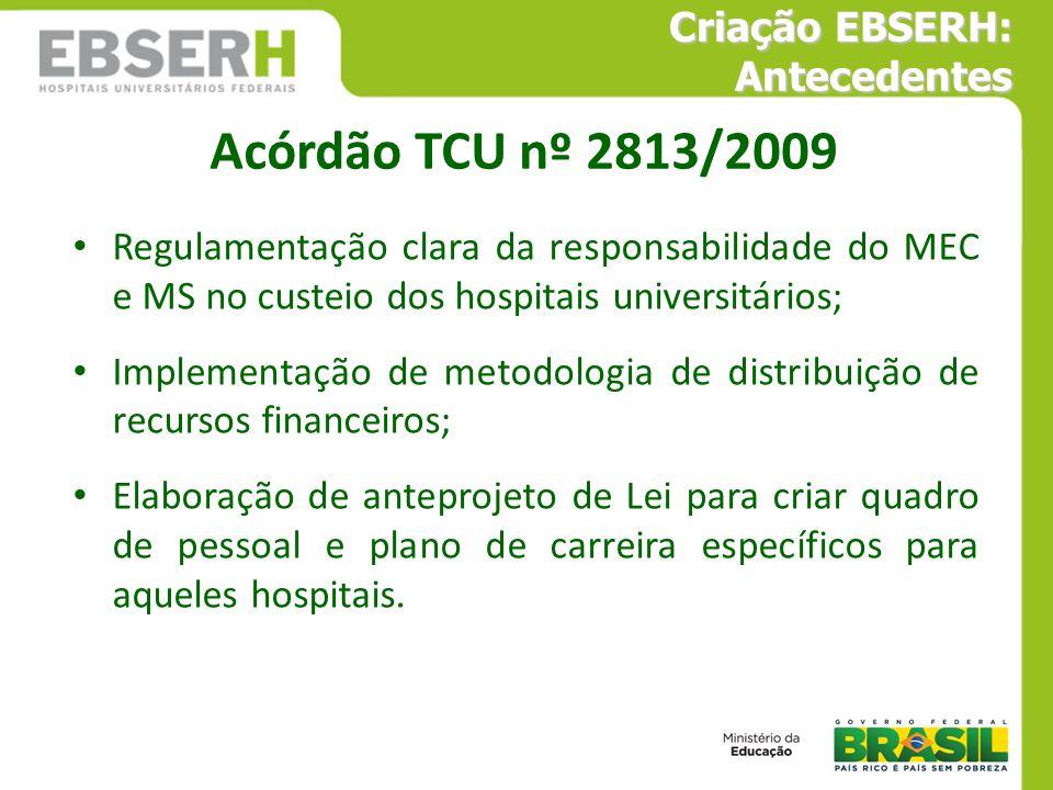 Regulamentação clara da responsabilidade do MEC e MS no custeio dos hospitais universitários; Implementação de metodologia de distribuição de recursos