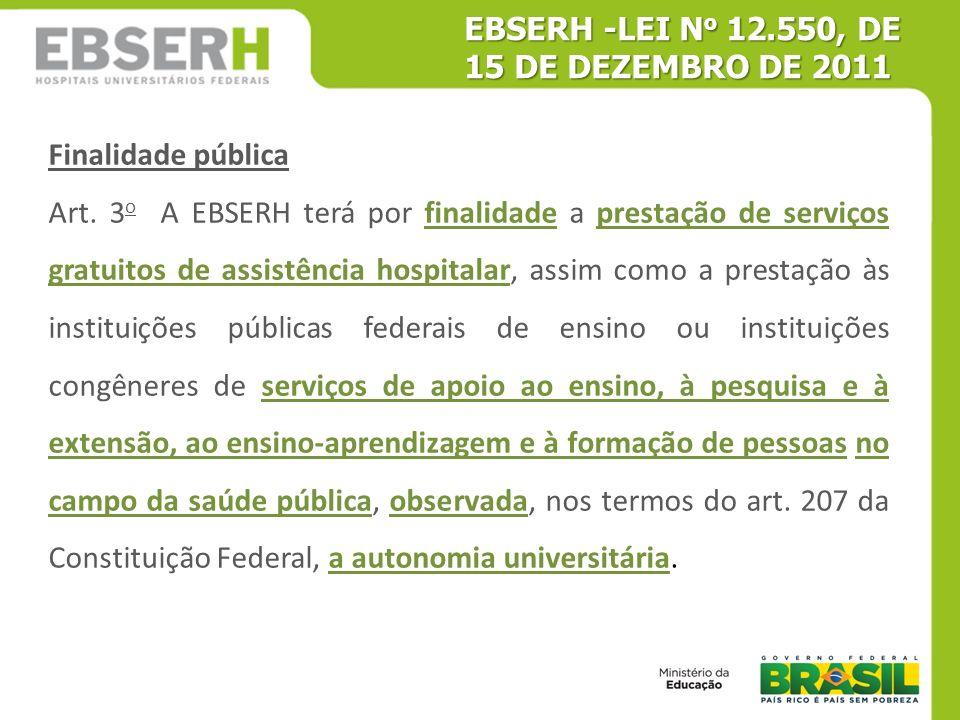 Finalidade pública Art. 3 o A EBSERH terá por finalidade a prestação de serviços gratuitos de assistência hospitalar, assim como a prestação às instit