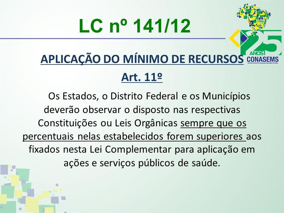 LC nº 141/12 APLICAÇÃO DO MÍNIMO DE RECURSOS Art. 11º Os Estados, o Distrito Federal e os Municípios deverão observar o disposto nas respectivas Const