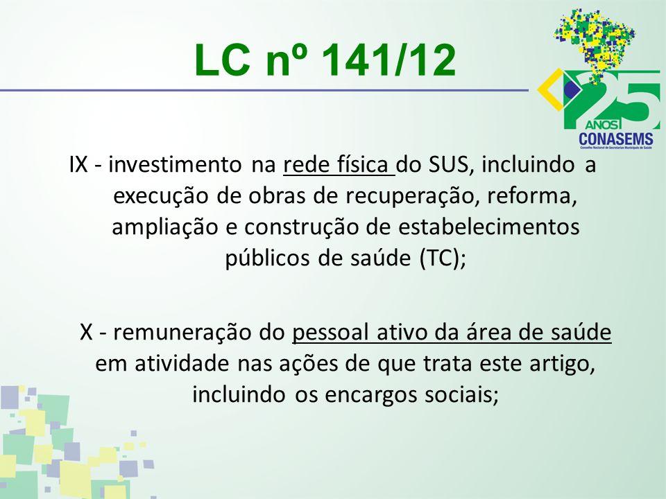LC nº 141/12 IX - investimento na rede física do SUS, incluindo a execução de obras de recuperação, reforma, ampliação e construção de estabelecimentos públicos de saúde (TC); X - remuneração do pessoal ativo da área de saúde em atividade nas ações de que trata este artigo, incluindo os encargos sociais;