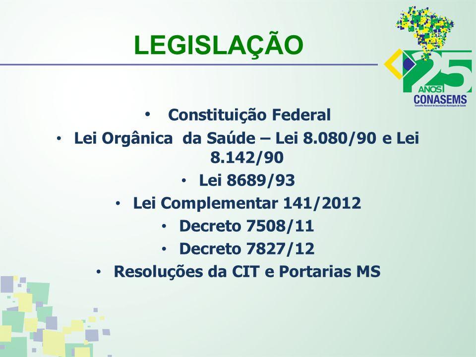 LEGISLAÇÃO Constituição Federal Lei Orgânica da Saúde – Lei 8.080/90 e Lei 8.142/90 Lei 8689/93 Lei Complementar 141/2012 Decreto 7508/11 Decreto 7827/12 Resoluções da CIT e Portarias MS