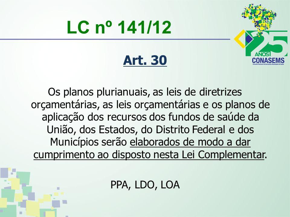 LC nº 141/12 Art. 30 Os planos plurianuais, as leis de diretrizes orçamentárias, as leis orçamentárias e os planos de aplicação dos recursos dos fundo
