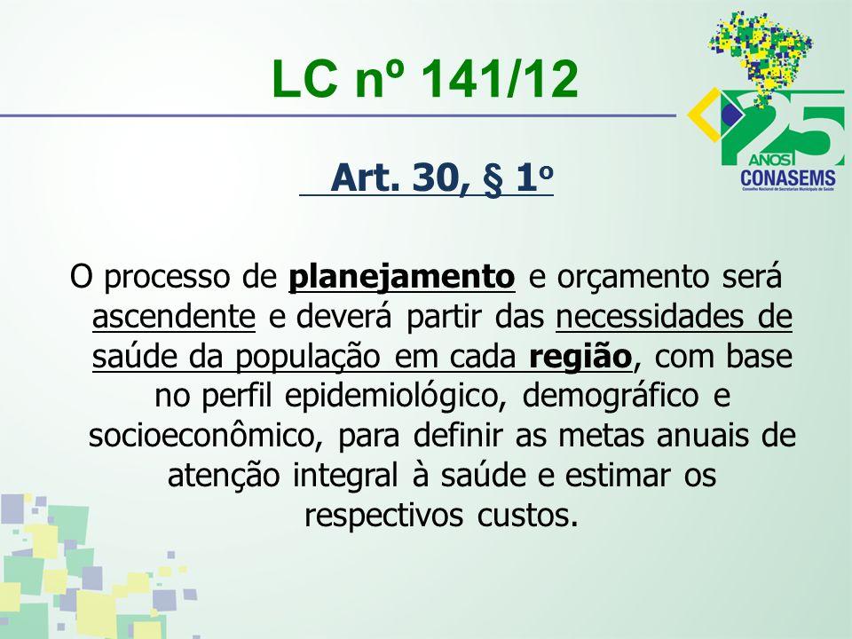 LC nº 141/12 Art. 30, § 1 o O processo de planejamento e orçamento será ascendente e deverá partir das necessidades de saúde da população em cada regi
