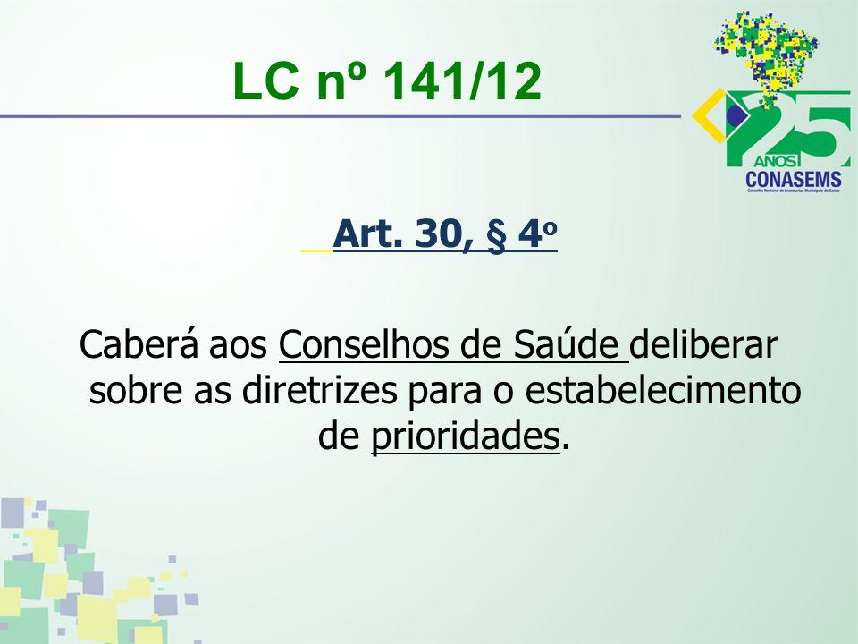 LC nº 141/12 Art. 30, § 4 o Caberá aos Conselhos de Saúde deliberar sobre as diretrizes para o estabelecimento de prioridades.