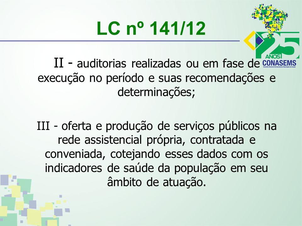 LC nº 141/12 II - auditorias realizadas ou em fase de execução no período e suas recomendações e determinações; III - oferta e produção de serviços pú