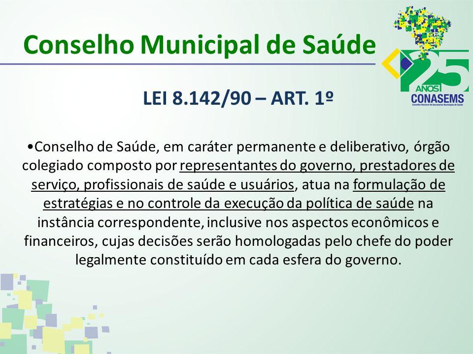 Conselho Municipal de Saúde LEI 8.142/90 – ART. 1º Conselho de Saúde, em caráter permanente e deliberativo, órgão colegiado composto por representante