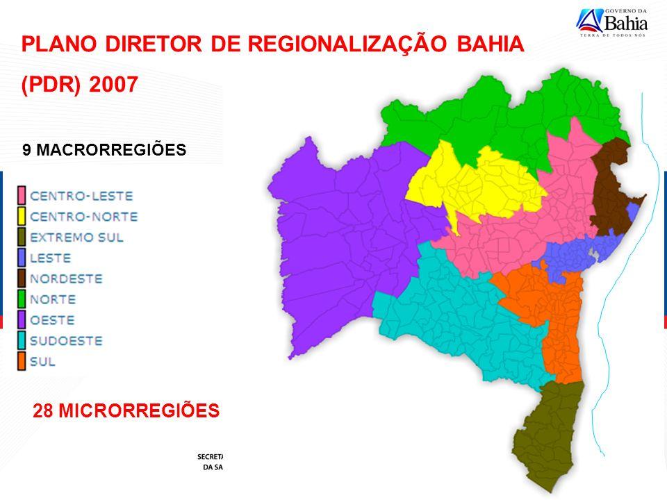 PLANO DIRETOR DE REGIONALIZAÇÃO BAHIA (PDR) 2007 9 MACRORREGIÕES 28 MICRORREGIÕES