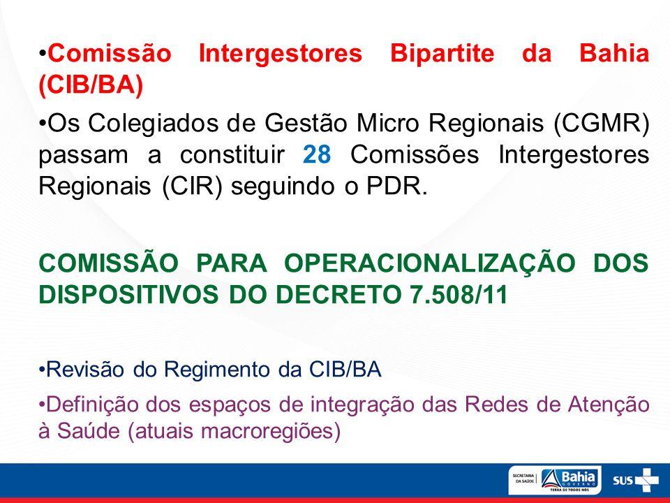 Comissão Intergestores Bipartite da Bahia (CIB/BA) Os Colegiados de Gestão Micro Regionais (CGMR) passam a constituir 28 Comissões Intergestores Regio