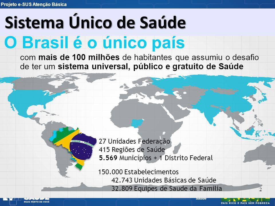 Projeto e-SUS Atenção Básica O Brasil é o único país com mais de 100 milhões de habitantes que assumiu o desafio de ter um sistema universal, público