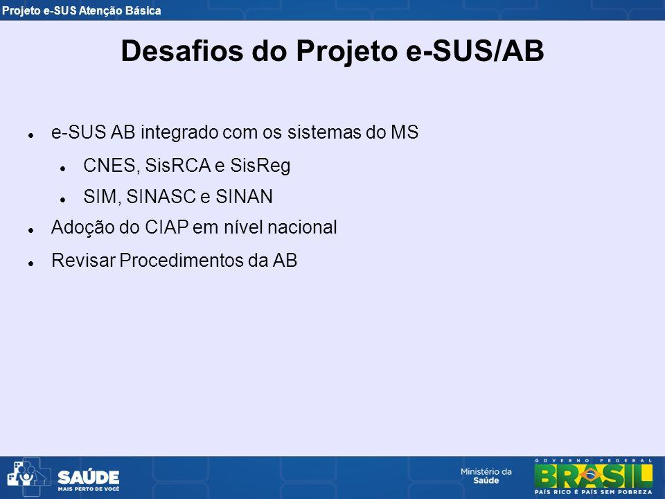 Projeto e-SUS Atenção Básica e-SUS AB integrado com os sistemas do MS CNES, SisRCA e SisReg SIM, SINASC e SINAN Adoção do CIAP em nível nacional Revis
