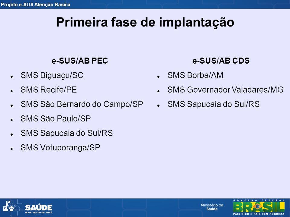 Projeto e-SUS Atenção Básica e-SUS/AB PEC SMS Biguaçu/SC SMS Recife/PE SMS São Bernardo do Campo/SP SMS São Paulo/SP SMS Sapucaia do Sul/RS SMS Votupo