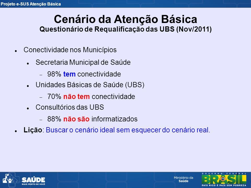 Projeto e-SUS Atenção Básica 4 Conectividade nos Municípios Secretaria Municipal de Saúde 98% tem conectividade Unidades Básicas de Saúde (UBS) 70% nã