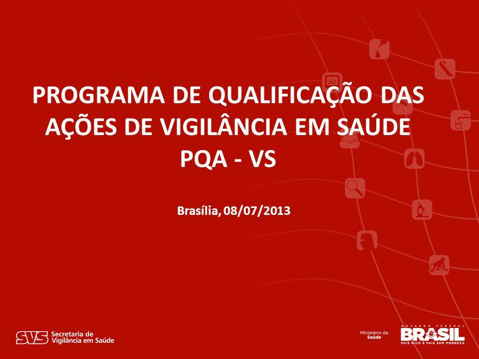 Brasília, 08/07/2013 PROGRAMA DE QUALIFICAÇÃO DAS AÇÕES DE VIGILÂNCIA EM SAÚDE PQA - VS