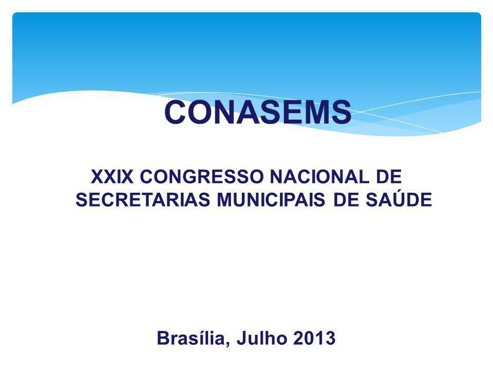 XXIX CONGRESSO NACIONAL DE SECRETARIAS MUNICIPAIS DE SAÚDE Brasília, Julho 2013 CONASEMS