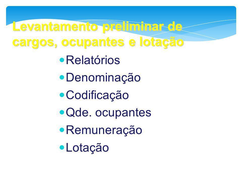 Levantamento preliminar de cargos, ocupantes e lotação Relatórios Denominação Codificação Qde. ocupantes Remuneração Lotação