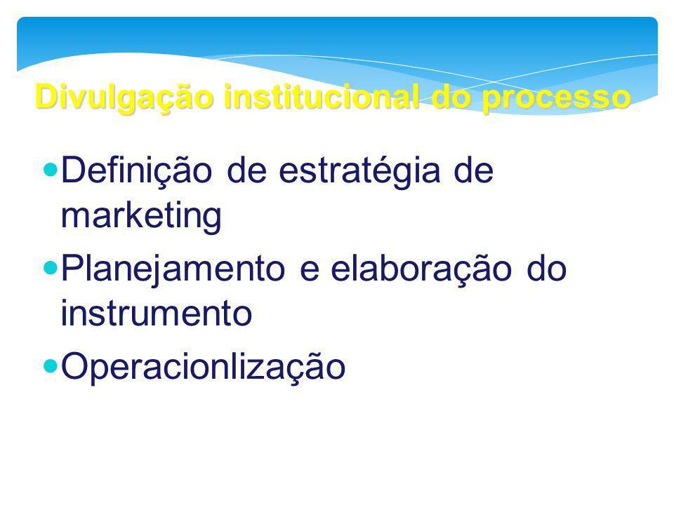 Divulgação institucional do processo Definição de estratégia de marketing Planejamento e elaboração do instrumento Operacionlização