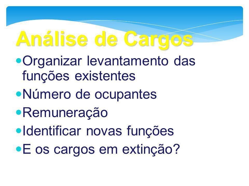 Análise de Cargos Organizar levantamento das funções existentes Número de ocupantes Remuneração Identificar novas funções E os cargos em extinção?