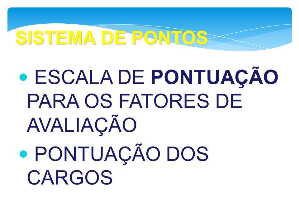 SISTEMA DE PONTOS ESCALA DE PONTUAÇÃO PARA OS FATORES DE AVALIAÇÃO PONTUAÇÃO DOS CARGOS