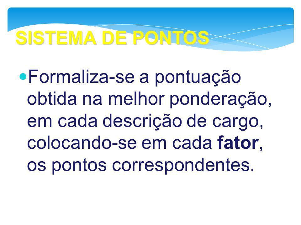 SISTEMA DE PONTOS Formaliza-se a pontuação obtida na melhor ponderação, em cada descrição de cargo, colocando-se em cada fator, os pontos corresponden