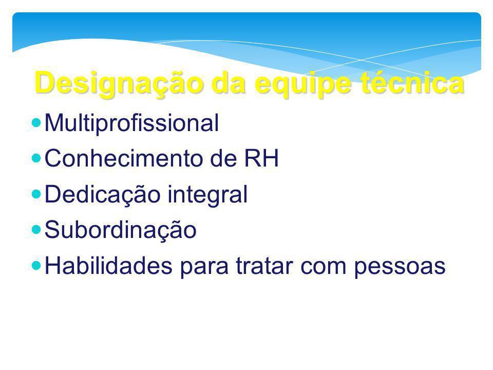 Designação da equipe técnica Multiprofissional Conhecimento de RH Dedicação integral Subordinação Habilidades para tratar com pessoas