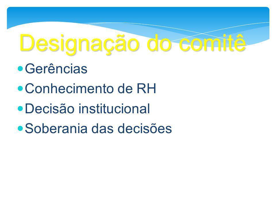 Designação do comitê Gerências Conhecimento de RH Decisão institucional Soberania das decisões