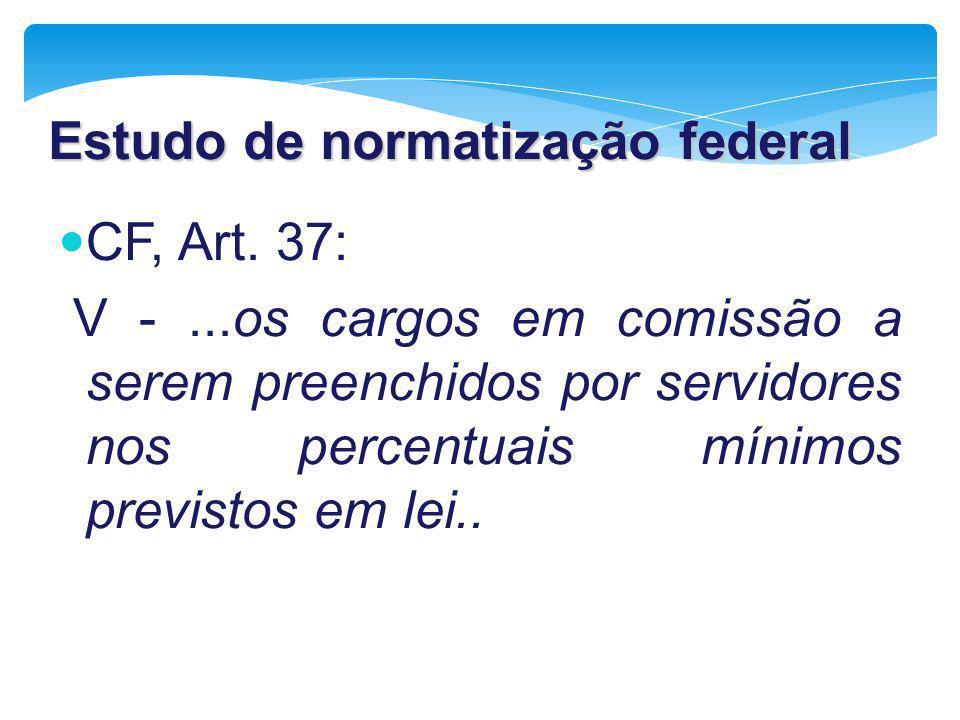 Estudo de normatização federal CF, Art. 37: V -...os cargos em comissão a serem preenchidos por servidores nos percentuais mínimos previstos em lei..