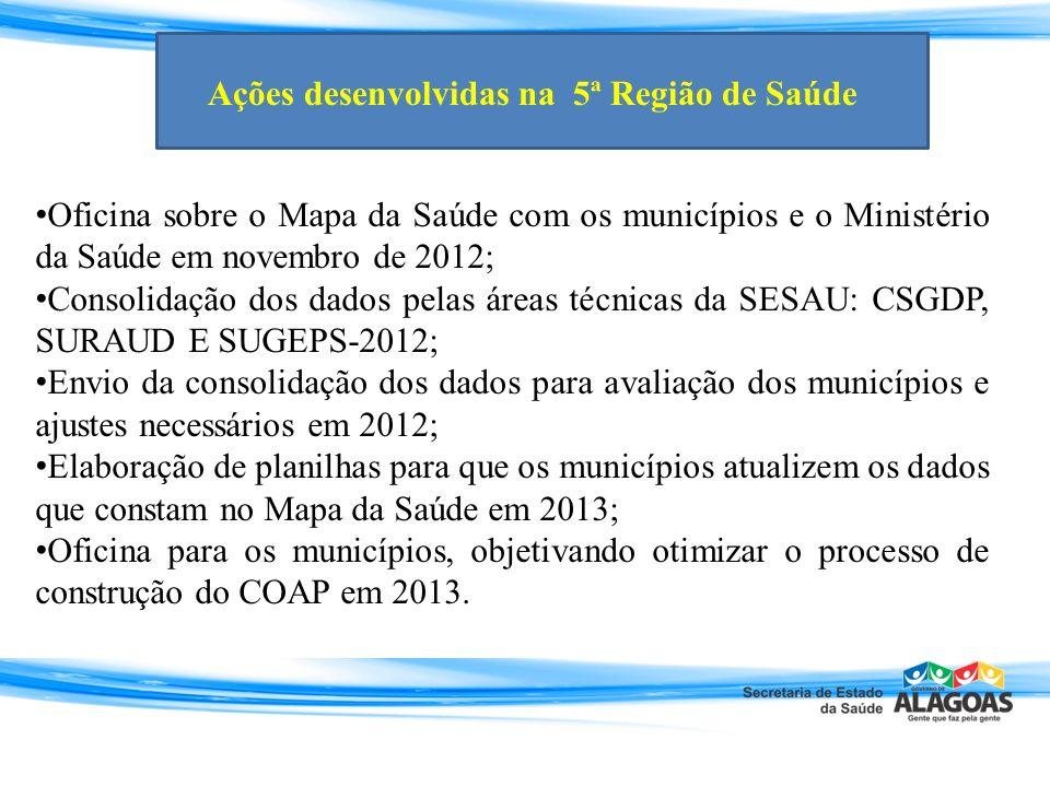Oficina sobre o Mapa da Saúde com os municípios e o Ministério da Saúde em novembro de 2012; Consolidação dos dados pelas áreas técnicas da SESAU: CSG