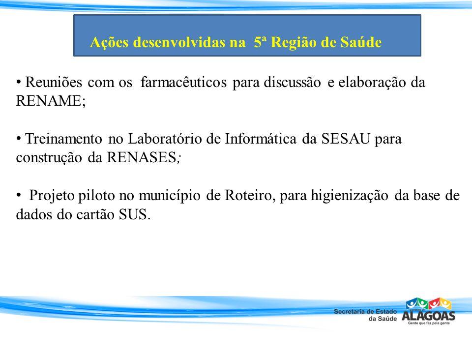 Reuniões com os farmacêuticos para discussão e elaboração da RENAME; Treinamento no Laboratório de Informática da SESAU para construção da RENASES; Pr
