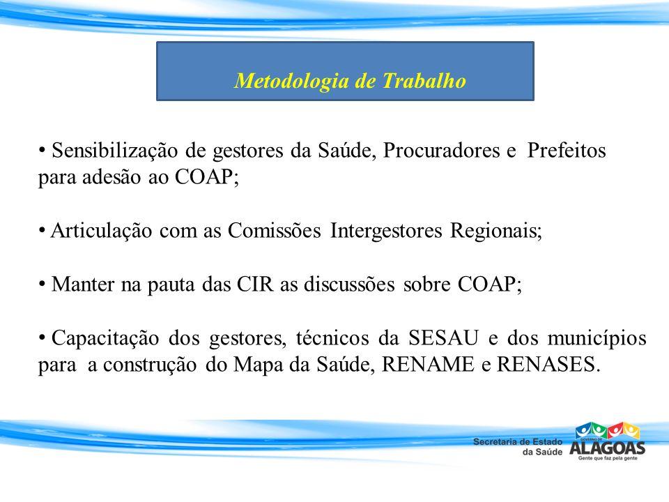 Sensibilização de gestores da Saúde, Procuradores e Prefeitos para adesão ao COAP; Articulação com as Comissões Intergestores Regionais; Manter na pau