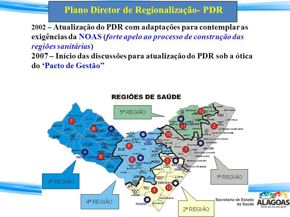2002 – Atualização do PDR com adaptações para contemplar as exigências da NOAS (forte apelo ao processo de construção das regiões sanitárias) 2007 – I