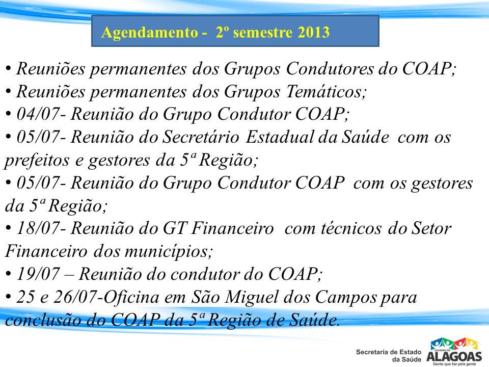 Reuniões permanentes dos Grupos Condutores do COAP; Reuniões permanentes dos Grupos Temáticos; 04/07- Reunião do Grupo Condutor COAP; 05/07- Reunião d