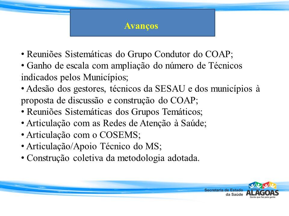 Reuniões Sistemáticas do Grupo Condutor do COAP; Ganho de escala com ampliação do número de Técnicos indicados pelos Municípios; Adesão dos gestores,