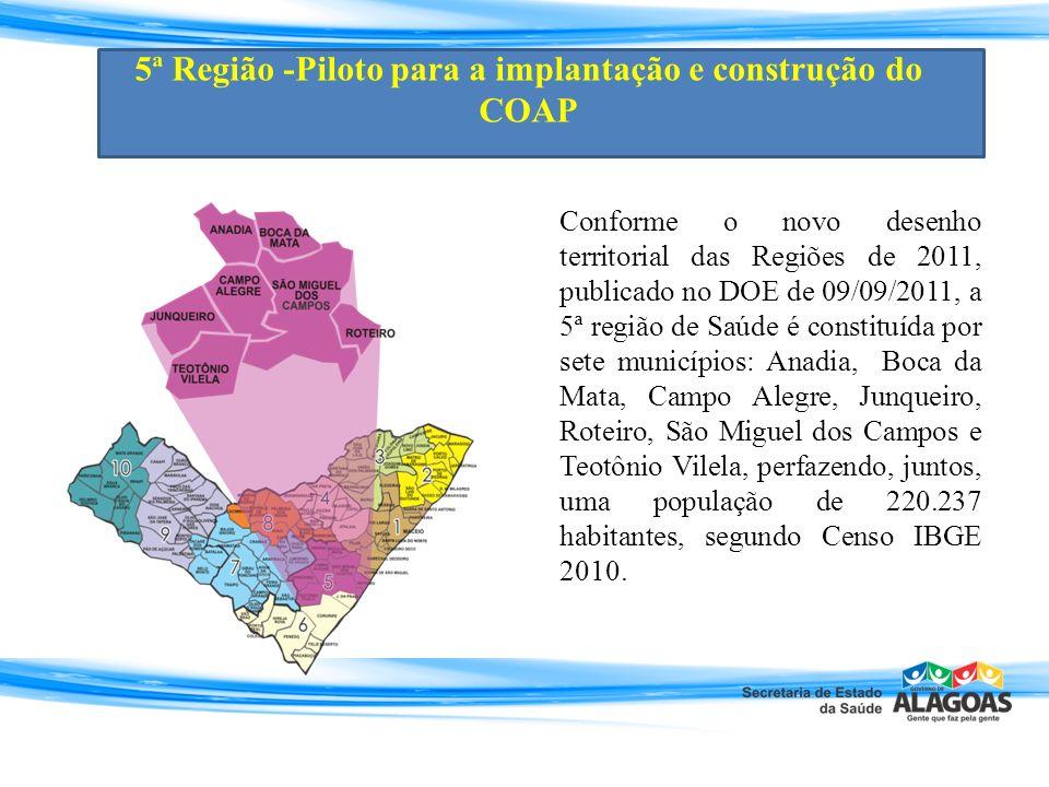 Conforme o novo desenho territorial das Regiões de 2011, publicado no DOE de 09/09/2011, a 5ª região de Saúde é constituída por sete municípios: Anadi
